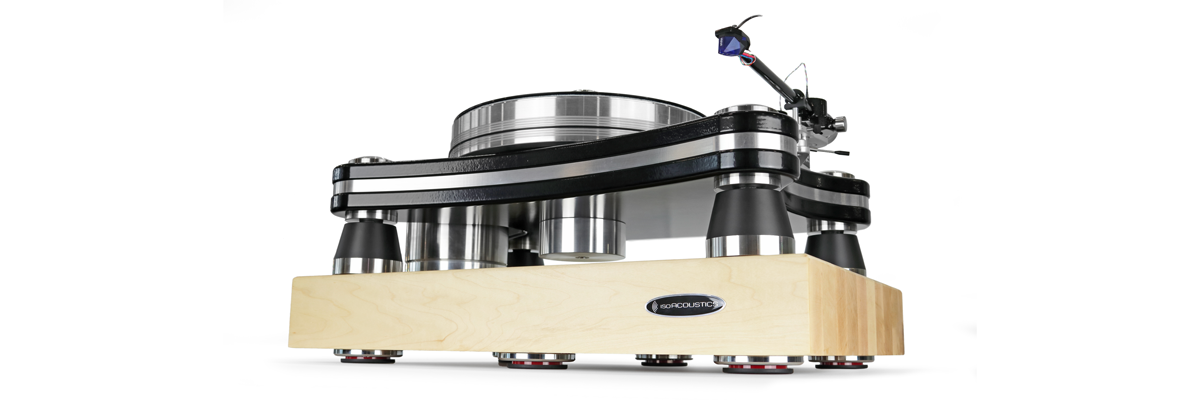 Turntable shown in profile isolated with the IsoAcoustics DELOS in Maple