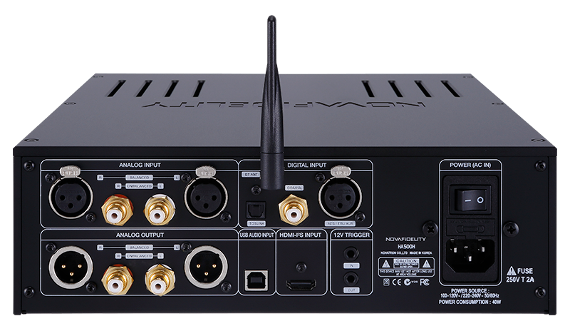 Novafidelity's HA500H headphone amplifier back panel featuring a comprehensive array of digital and analogue inputs and outputs
