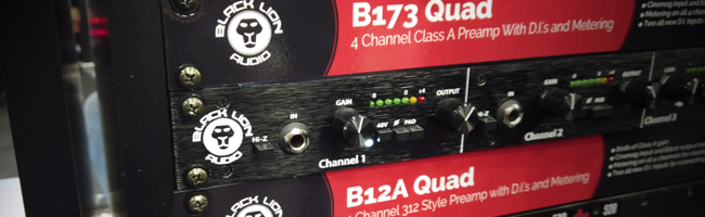Black Lion Audio's B12A QUAD and B173 QUAD 4-channel preamp models, on show at NAMM 2019 in Anaheim California